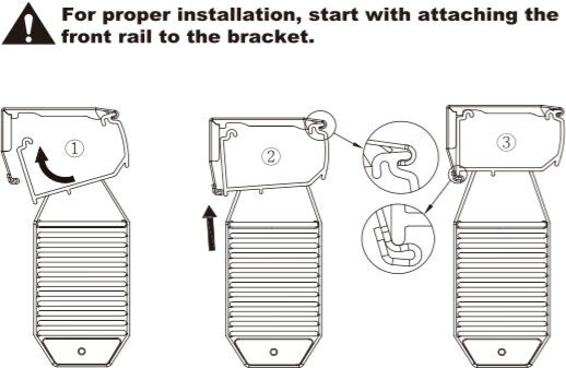 Install Headrail - For proper installation, start with attaching the front rail to the bracket